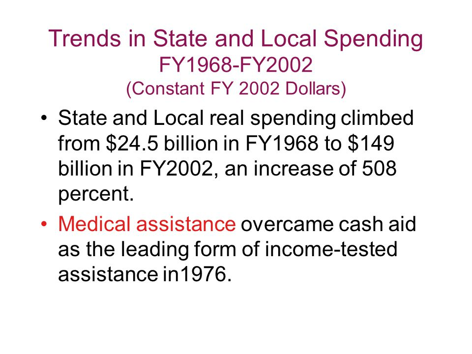 Trends in State and Local Spending FY1968-FY2002 (Constant FY 2002 Dollars) State and Local real spending climbed from $24.5 billion in FY1968 to $149 billion in FY2002, an increase of 508 percent.