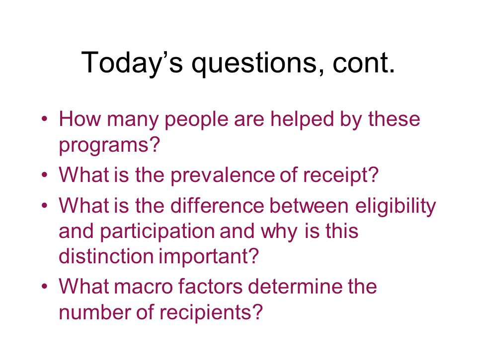 Today's questions, cont. How many people are helped by these programs.