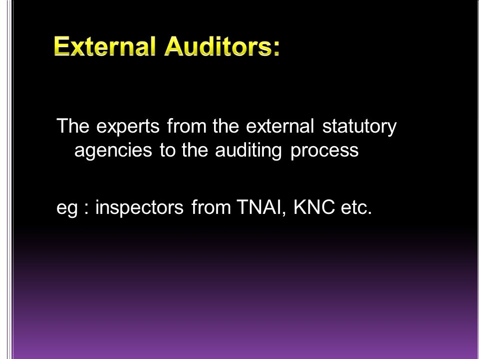 The experts from the external statutory agencies to the auditing process eg : inspectors from TNAI, KNC etc.