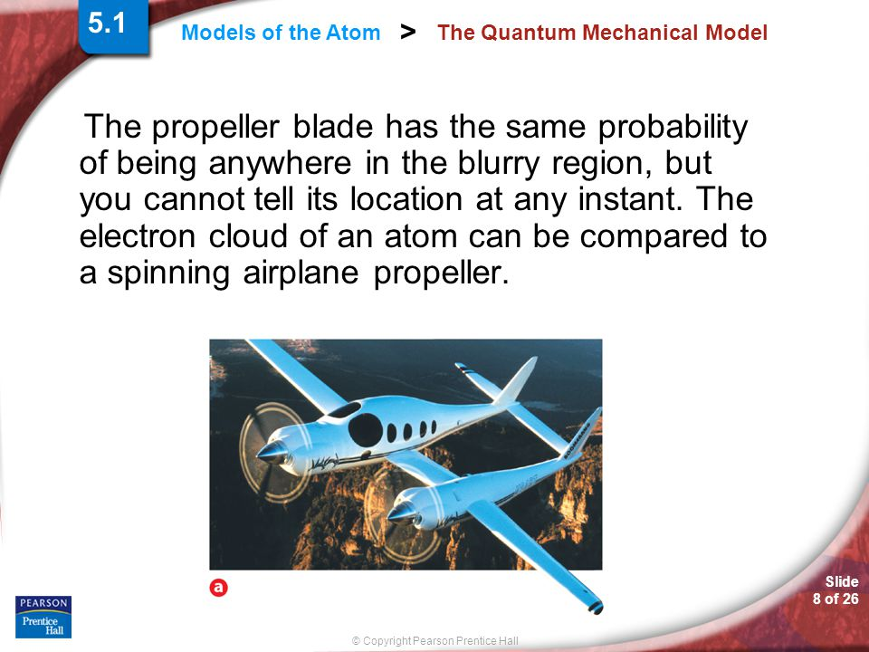 Slide 8 of 26 © Copyright Pearson Prentice Hall Models of the Atom > The Quantum Mechanical Model The propeller blade has the same probability of being anywhere in the blurry region, but you cannot tell its location at any instant.