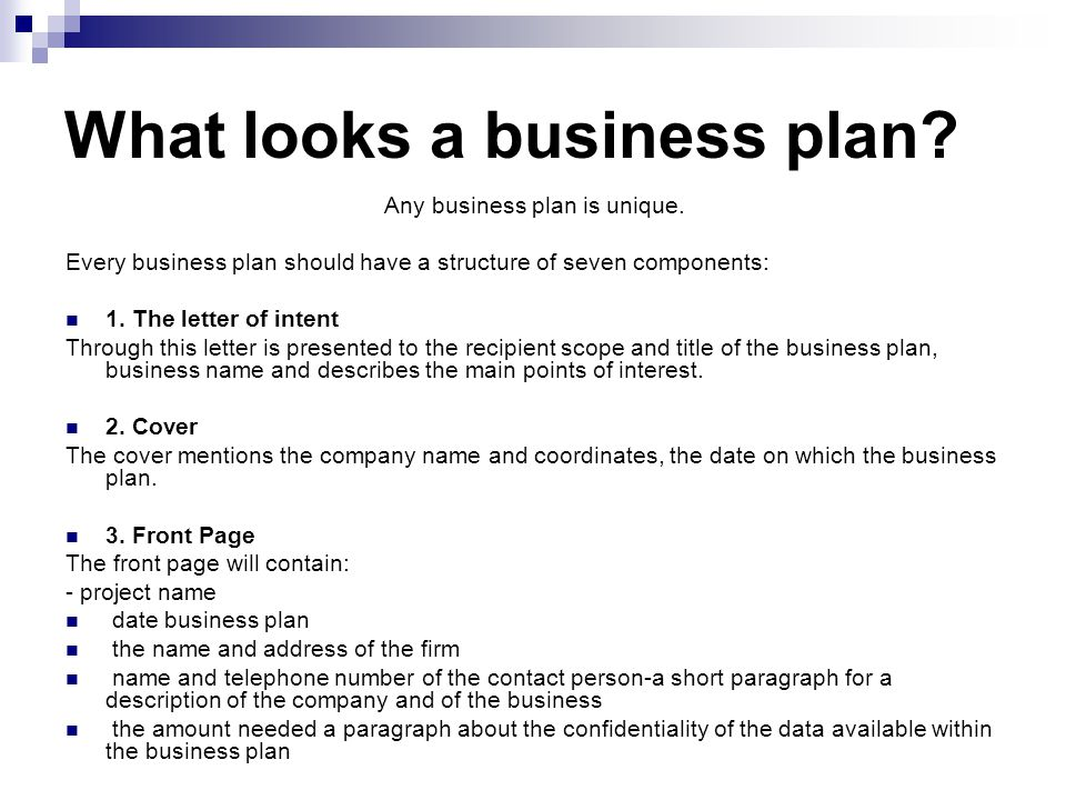 What should a business plan look like?