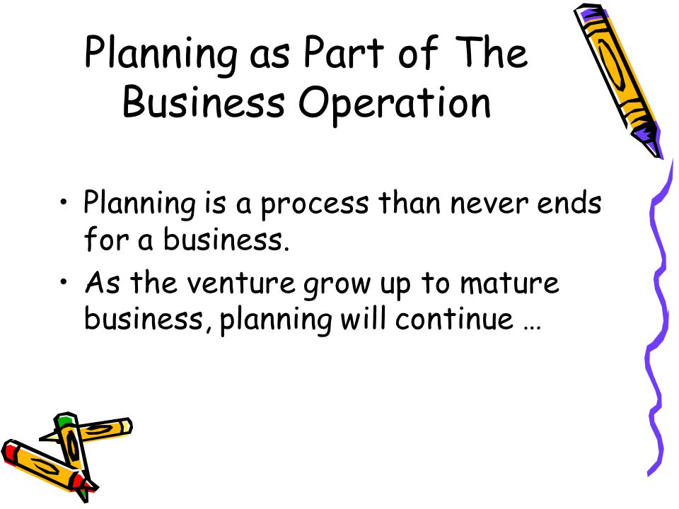 Planning as Part of The Business Operation Planning is a process than never ends for a business.