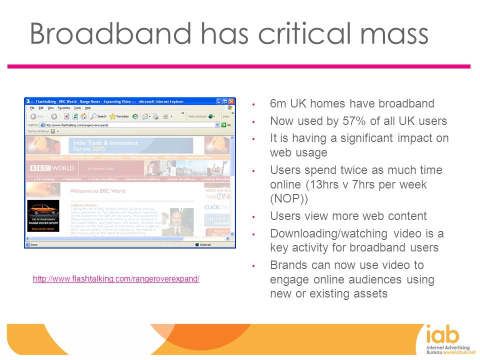 Broadband has critical mass 6m UK homes have broadband Now used by 57% of all UK users It is having a significant impact on web usage Users spend twice as much time online (13hrs v 7hrs per week (NOP)) Users view more web content Downloading/watching video is a key activity for broadband users Brands can now use video to engage online audiences using new or existing assets