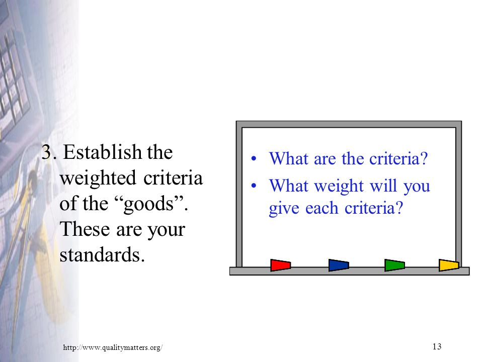 Establish the weighted criteria of the goods .
