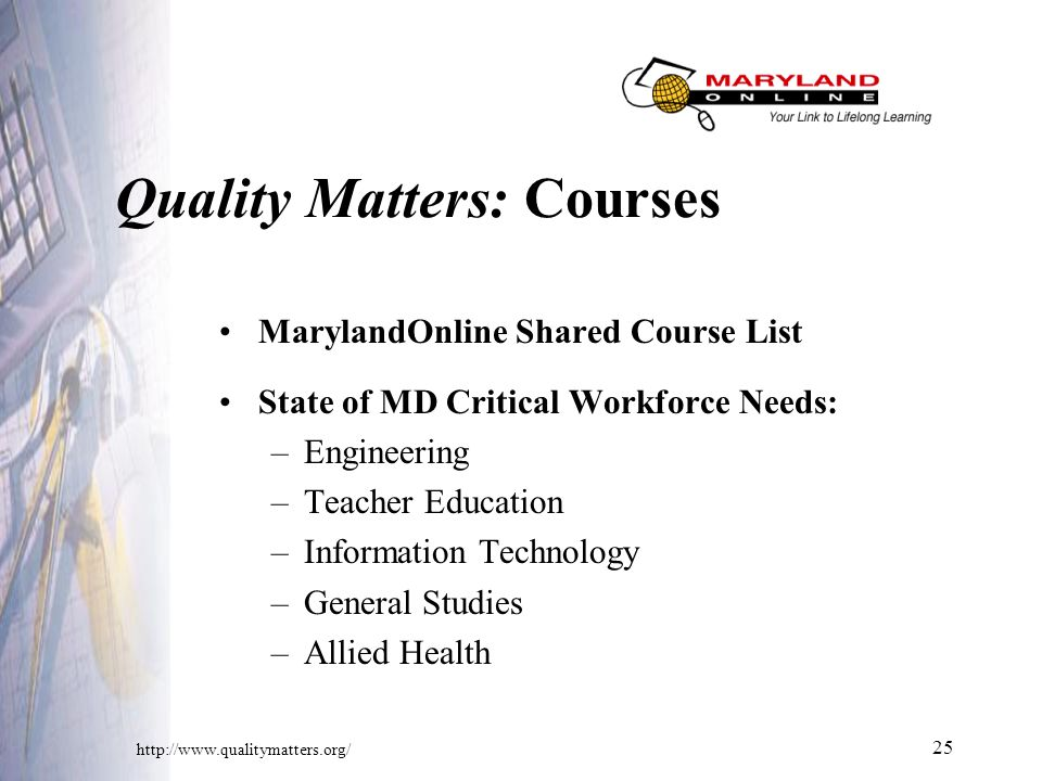 25 Quality Matters: Courses MarylandOnline Shared Course List State of MD Critical Workforce Needs: –Engineering –Teacher Education –Information Technology –General Studies –Allied Health