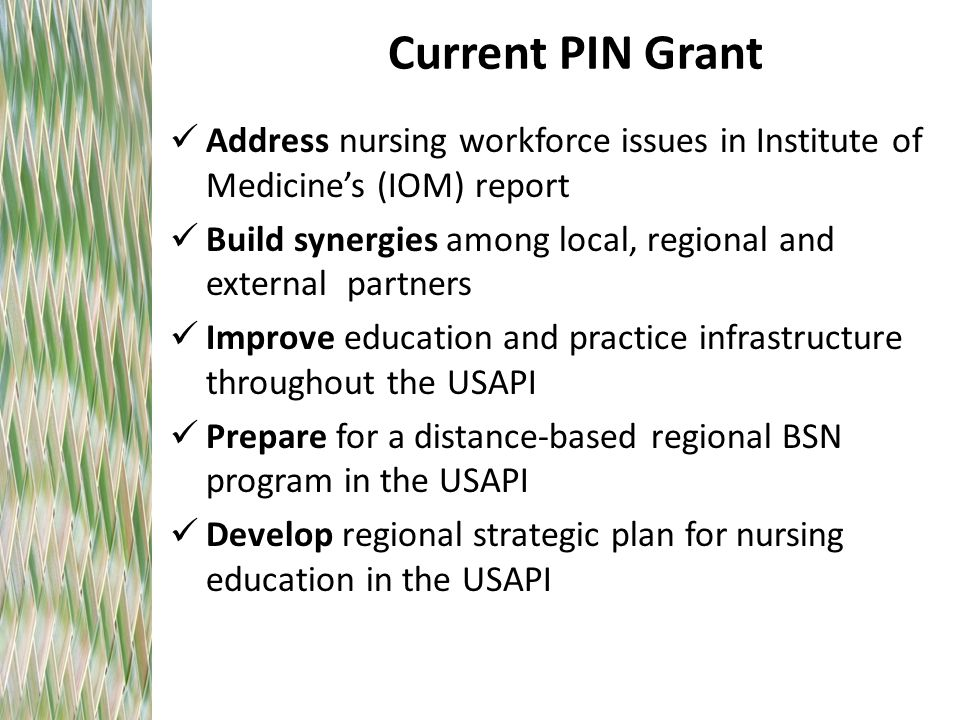 Current PIN Grant Address nursing workforce issues in Institute of Medicine's (IOM) report Build synergies among local, regional and external partners Improve education and practice infrastructure throughout the USAPI Prepare for a distance-based regional BSN program in the USAPI Develop regional strategic plan for nursing education in the USAPI