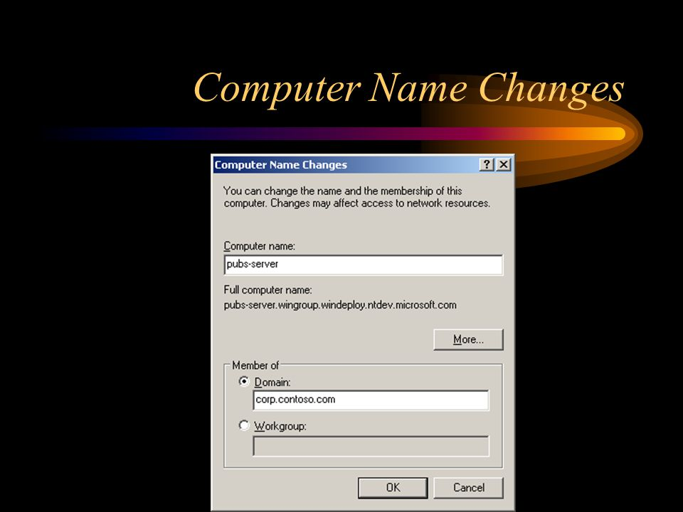Computer Name Changes