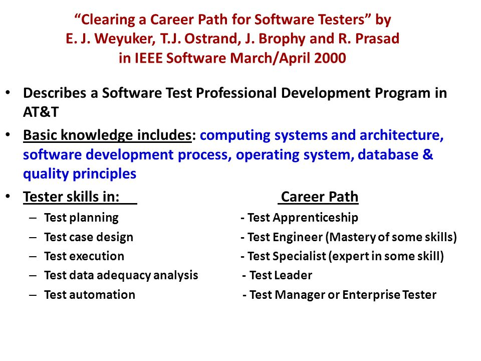 Clearing a Career Path for Software Testers by E.