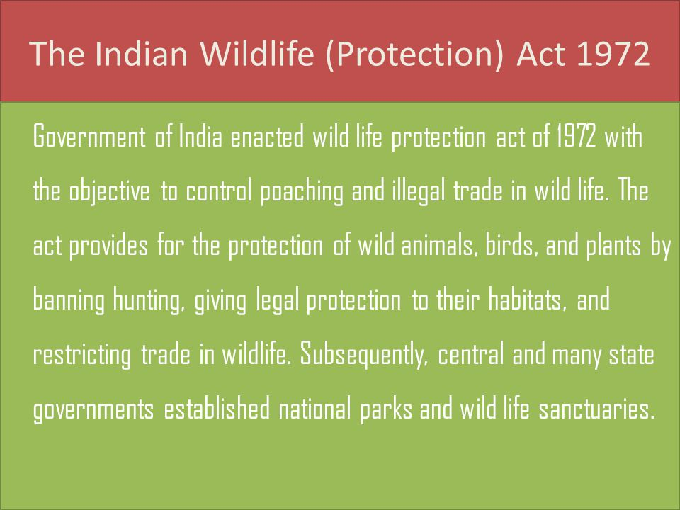 The Indian Wildlife (Protection) Act 1972 Government of India enacted wild life protection act of 1972 with the objective to control poaching and illegal trade in wild life.