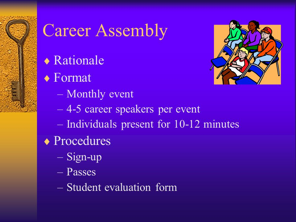 Career Assembly  Rationale  Format –Monthly event –4-5 career speakers per event –Individuals present for minutes  Procedures –Sign-up –Passes –Student evaluation form
