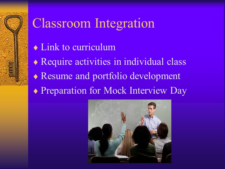 Classroom Integration  Link to curriculum  Require activities in individual class  Resume and portfolio development  Preparation for Mock Interview Day