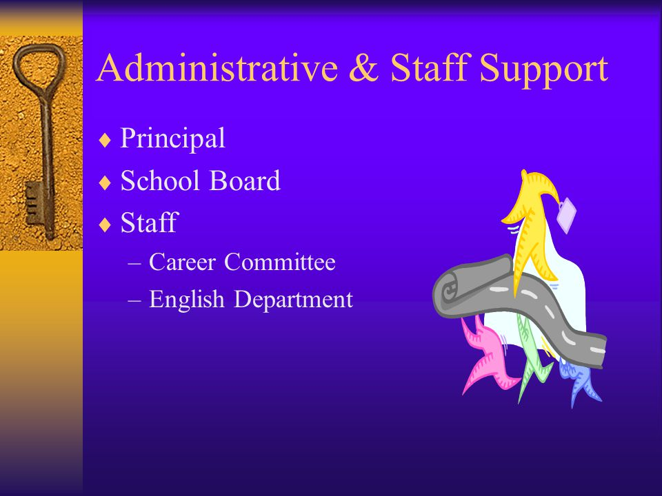 Administrative & Staff Support  Principal  School Board  Staff –Career Committee –English Department
