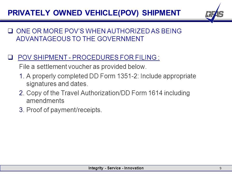 Integrity - Service - Innovation Reimbursement for (PCS ...