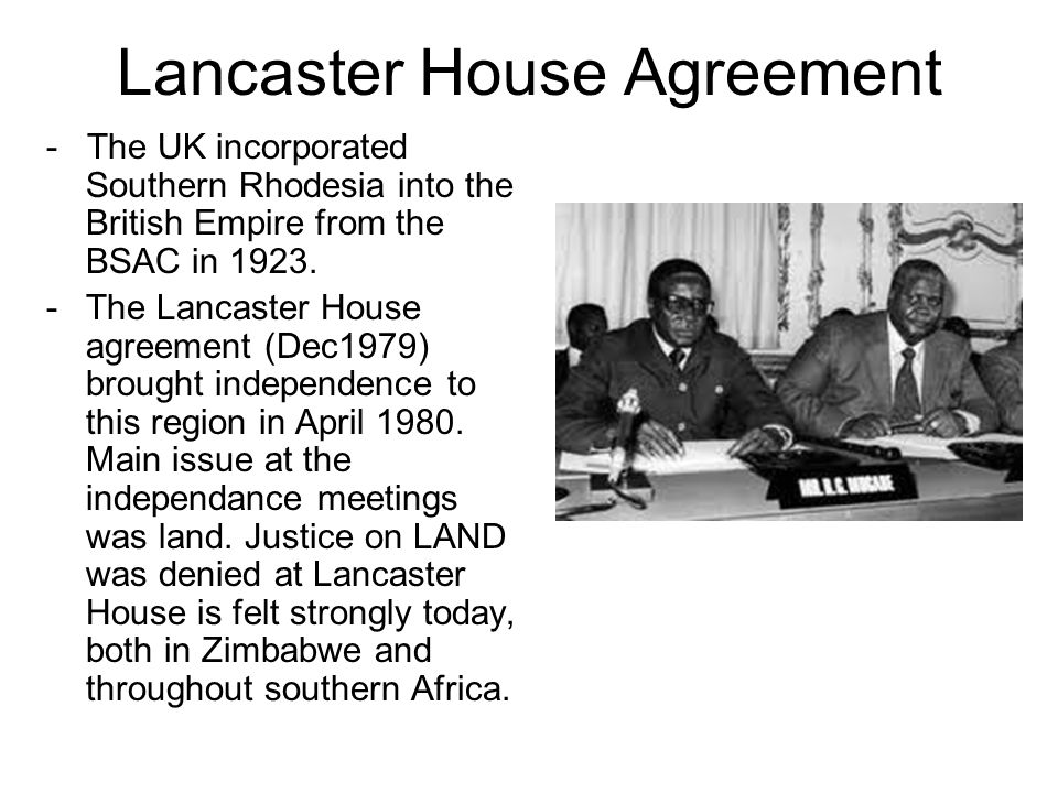 Land in zimbabwe past mistakes future prospects ppt download 12 lancaster house agreement platinumwayz