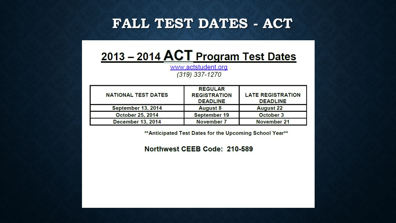 FALL TEST DATES - ACT