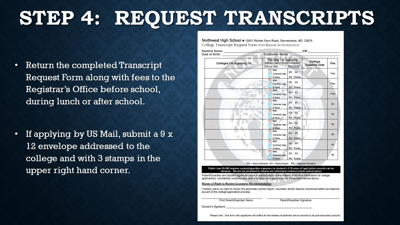 STEP 4: REQUEST TRANSCRIPTS Return the completed Transcript Request Form along with fees to the Registrar's Office before school, during lunch or after school.
