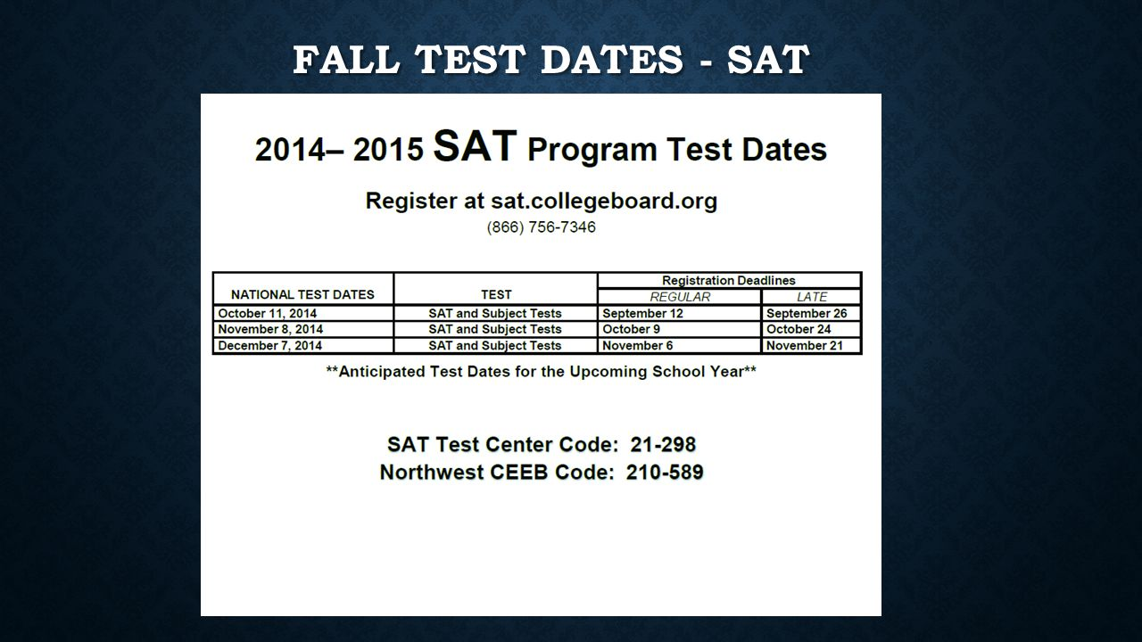 FALL TEST DATES - SAT