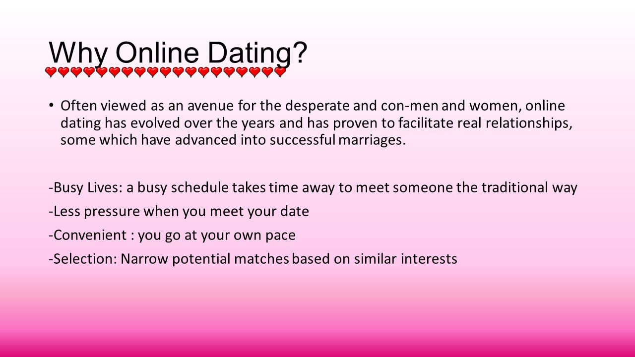 essays on online dating vs traditional dating Traditional dating is best defined in contrast to modern forms of dating such as online dating and speed dating the first meetings of traditional dating are face to face only two people meet and the time frame is longer than in, for instance, speed dating.