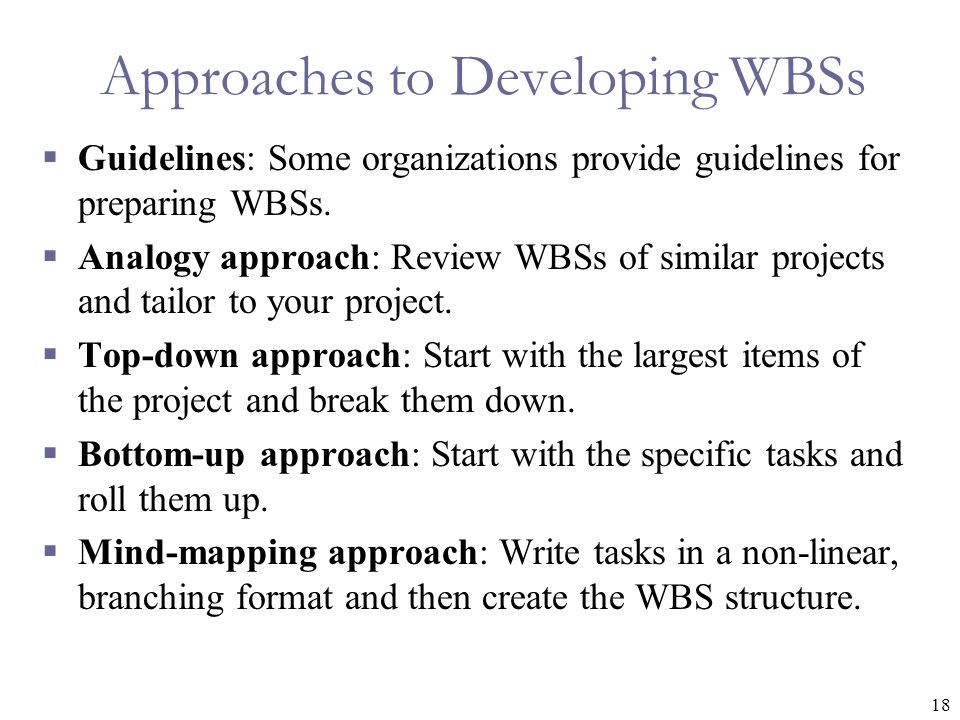 18 Approaches to Developing WBSs  Guidelines: Some organizations provide guidelines for preparing WBSs.
