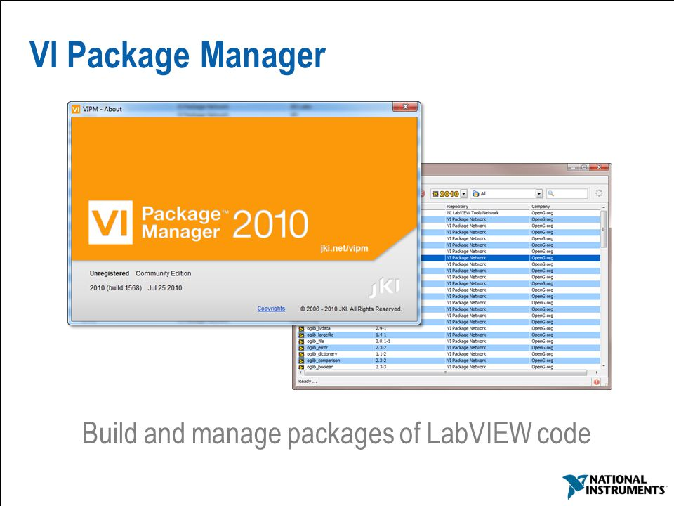 28 VI Package Manager Build and manage packages of LabVIEW code