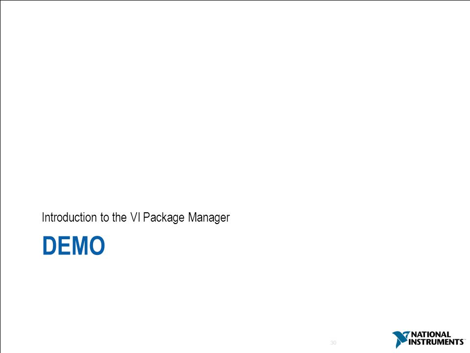 30 DEMO Introduction to the VI Package Manager