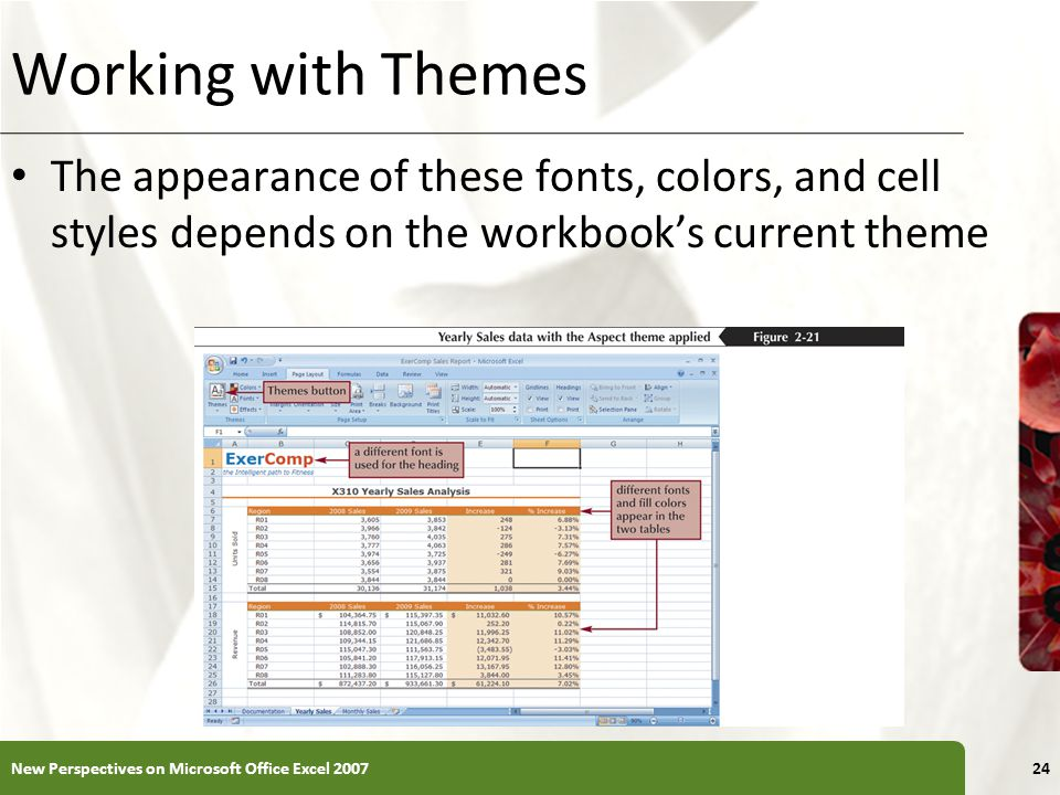 XP Working with Themes The appearance of these fonts, colors, and cell styles depends on the workbook's current theme New Perspectives on Microsoft Office Excel