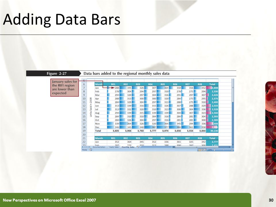 XP Adding Data Bars New Perspectives on Microsoft Office Excel