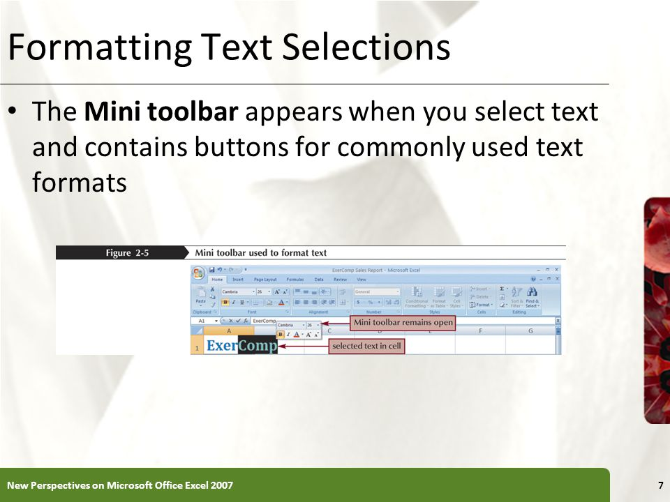 XP Formatting Text Selections The Mini toolbar appears when you select text and contains buttons for commonly used text formats New Perspectives on Microsoft Office Excel 20077
