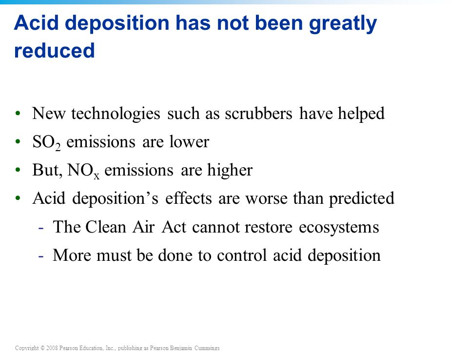 Copyright © 2008 Pearson Education, Inc., publishing as Pearson Benjamin Cummings Acid deposition has not been greatly reduced New technologies such as scrubbers have helped SO 2 emissions are lower But, NO x emissions are higher Acid deposition's effects are worse than predicted -The Clean Air Act cannot restore ecosystems -More must be done to control acid deposition