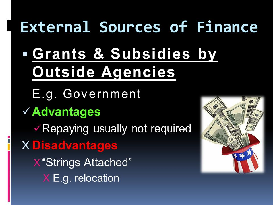 External Sources of Finance  Grants & Subsidies by Outside Agencies E.g.