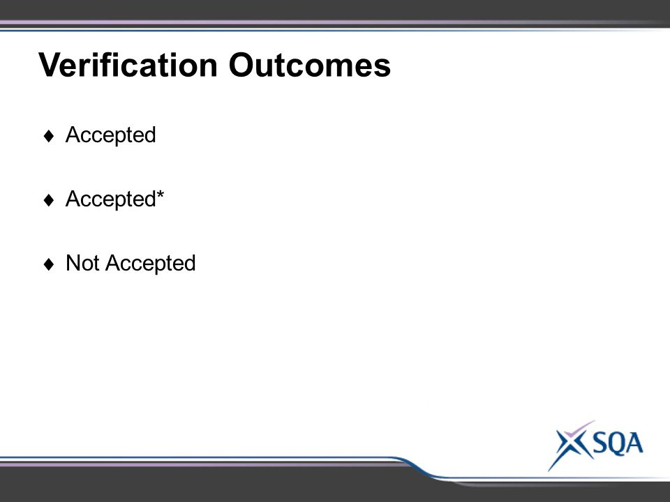 Verification Outcomes  Accepted  Accepted*  Not Accepted