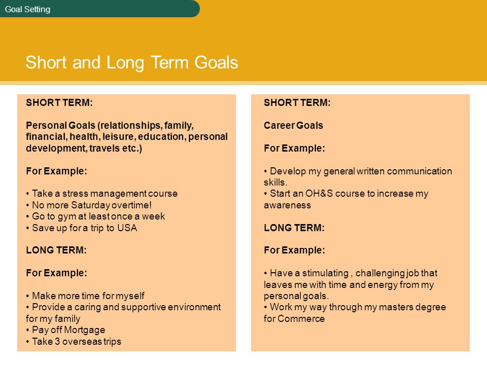 long term and short term goals essay for mba