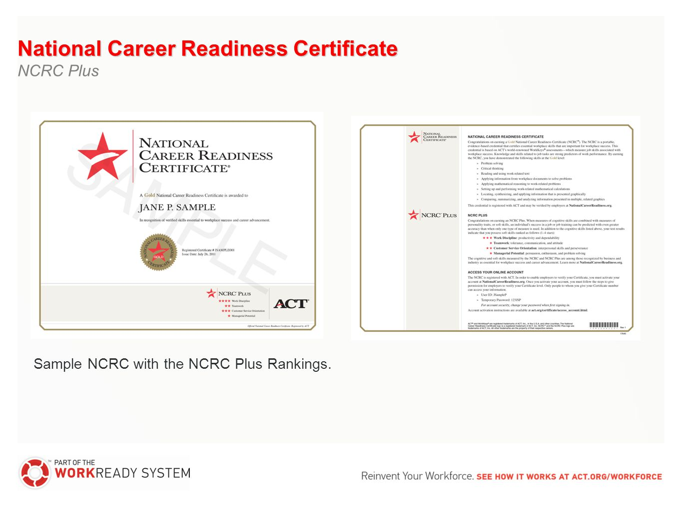 The national career readiness certificate issued by act is a national career readiness certificate ncrc plus xflitez Image collections