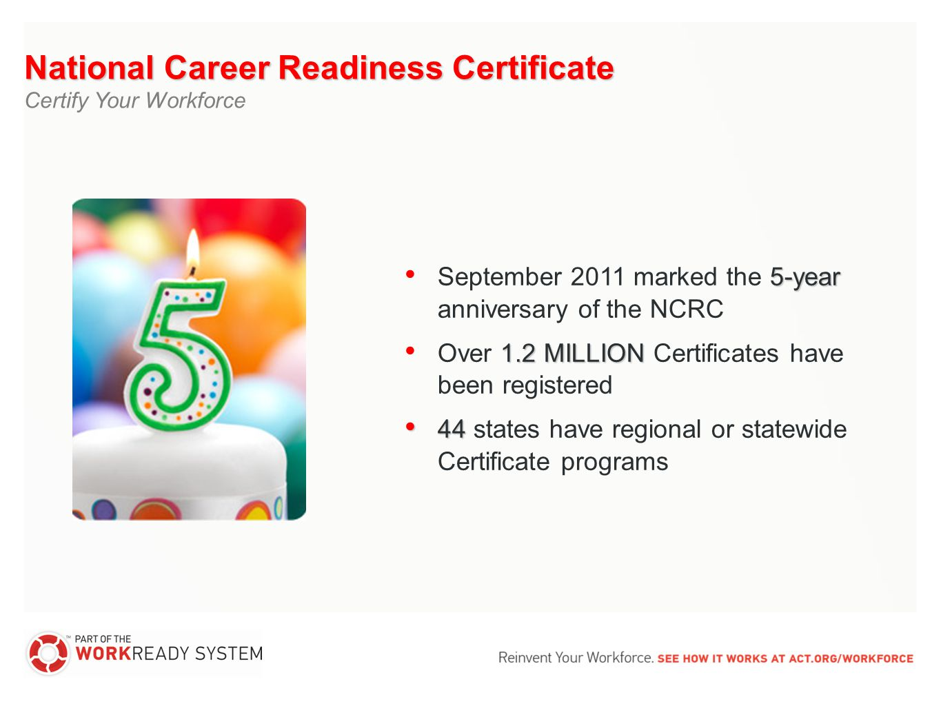 The national career readiness certificate issued by act is a 29 national career readiness certificate certify your workforce 5 year september 2011 marked the 5 year anniversary of the ncrc 12 million over 12 million xflitez Choice Image