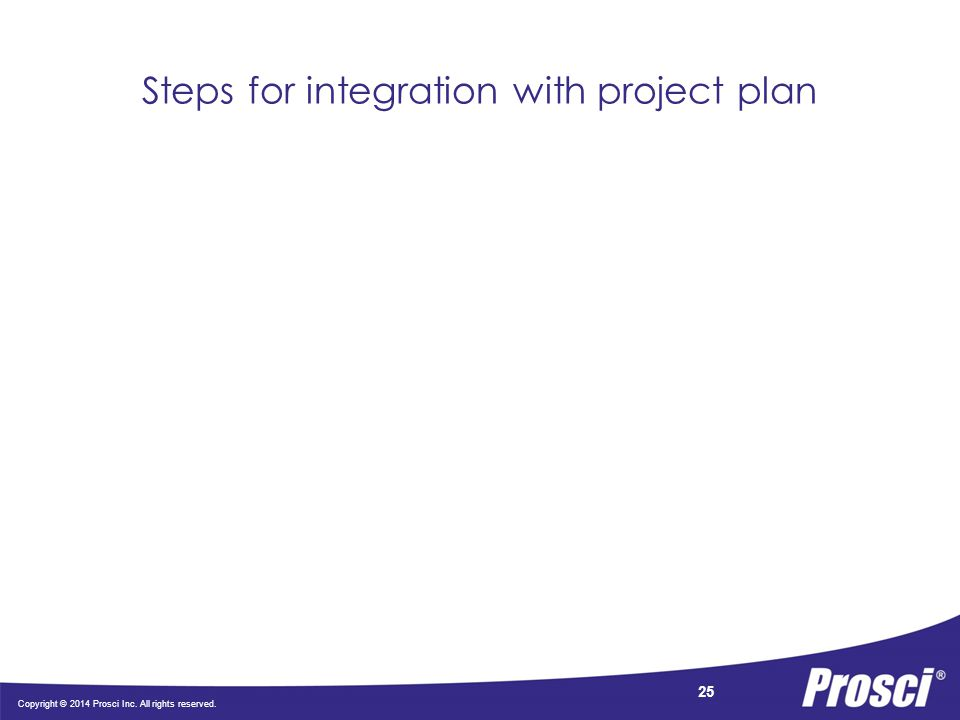 Copyright © 2014 Prosci Inc. All rights reserved. 25 Steps for integration with project plan