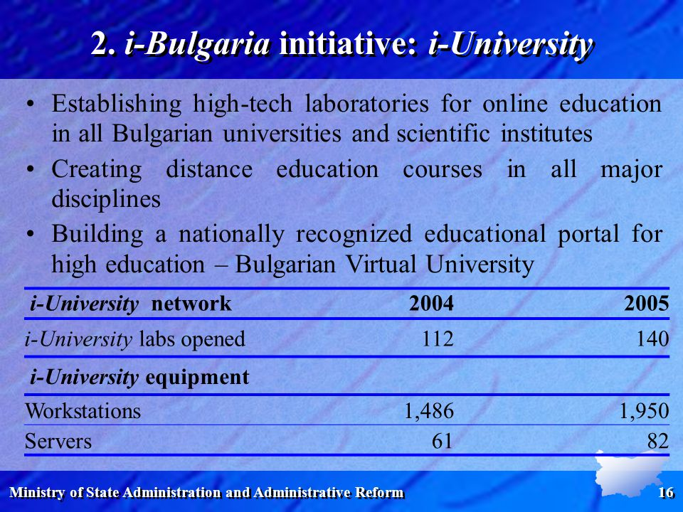Ministry of State Administration and Administrative Reform 16 i-University network i-University labs opened i-University equipment Workstations1,4861,950 Servers