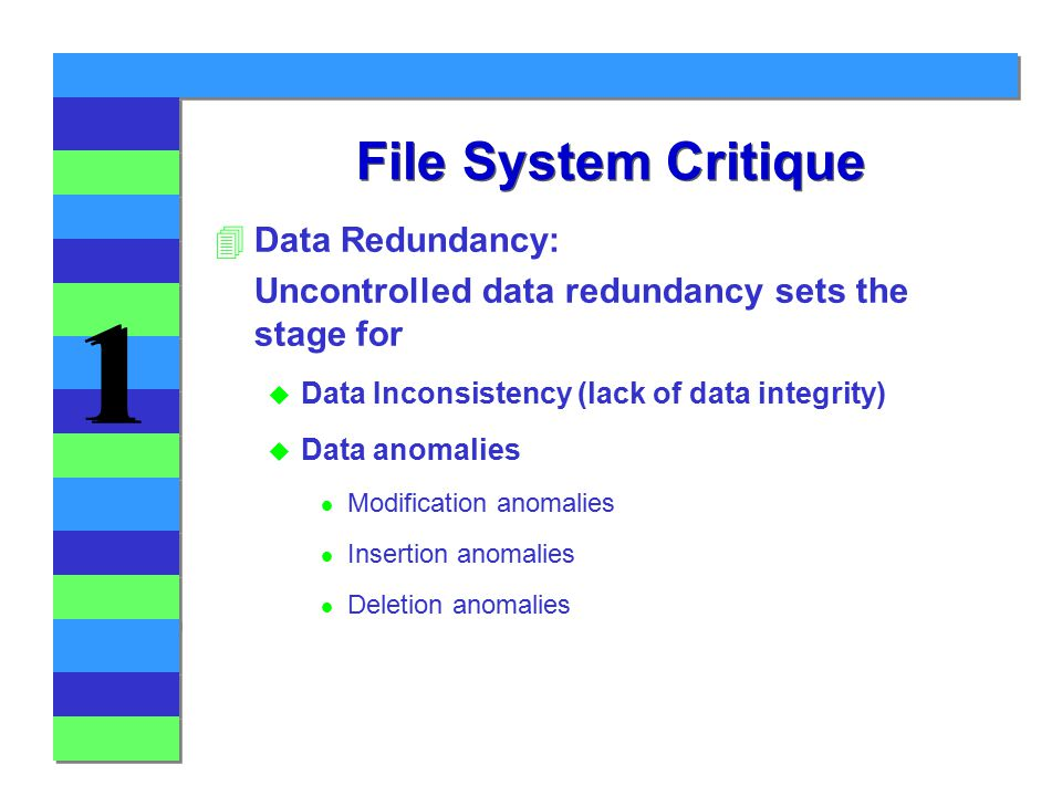 1 1 File System Critique 4Data Redundancy: Uncontrolled data redundancy sets the stage for u Data Inconsistency (lack of data integrity) u Data anomalies l Modification anomalies l Insertion anomalies l Deletion anomalies