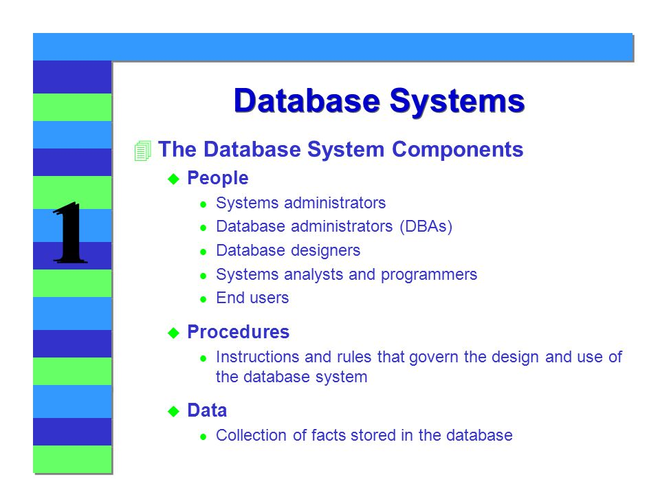 1 1 Database Systems 4The Database System Components u People l Systems administrators l Database administrators (DBAs) l Database designers l Systems analysts and programmers l End users u Procedures l Instructions and rules that govern the design and use of the database system u Data l Collection of facts stored in the database