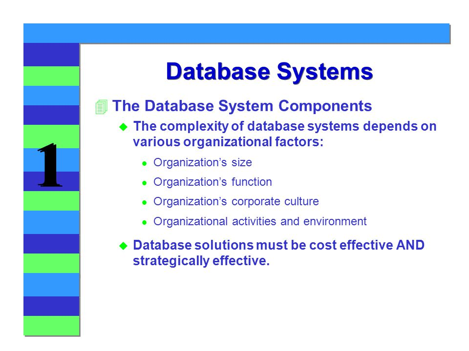 1 1 Database Systems 4The Database System Components u The complexity of database systems depends on various organizational factors: l Organization's size l Organization's function l Organization's corporate culture l Organizational activities and environment u Database solutions must be cost effective AND strategically effective.