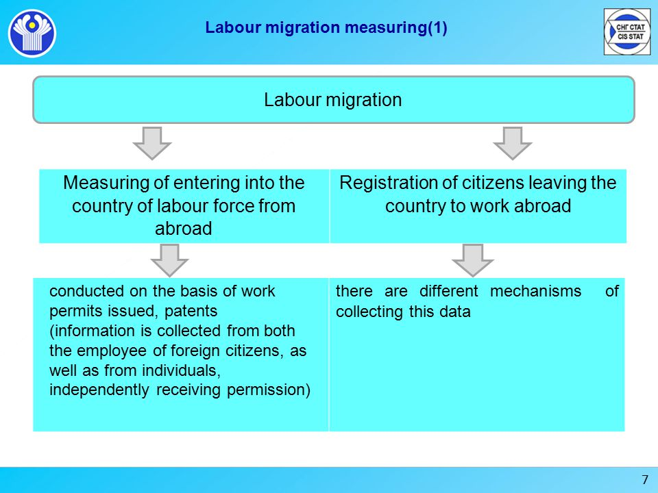 7 Labour migration measuring(1) Labour migration Measuring of entering into the country of labour force from abroad Registration of citizens leaving the country to work abroad conducted on the basis of work permits issued, patents (information is collected from both the employee of foreign citizens, as well as from individuals, independently receiving permission) there are different mechanisms of collecting this data