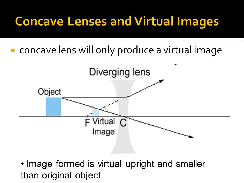  concave lens will only produce a virtual image F Image formed is virtual upright and smaller than original object