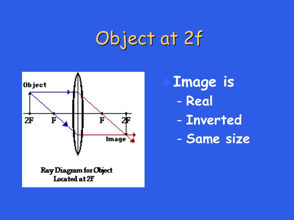 Object at 2f Image is – Real – Inverted – Same size