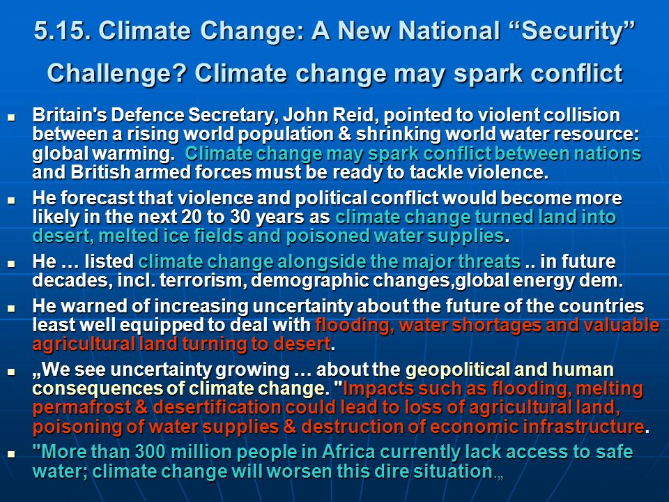 5.15. Climate Change: A New National Security Challenge.