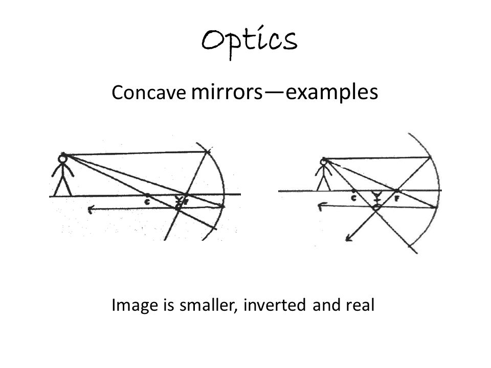 Optics Concave mirrors—examples Image is smaller, inverted and real