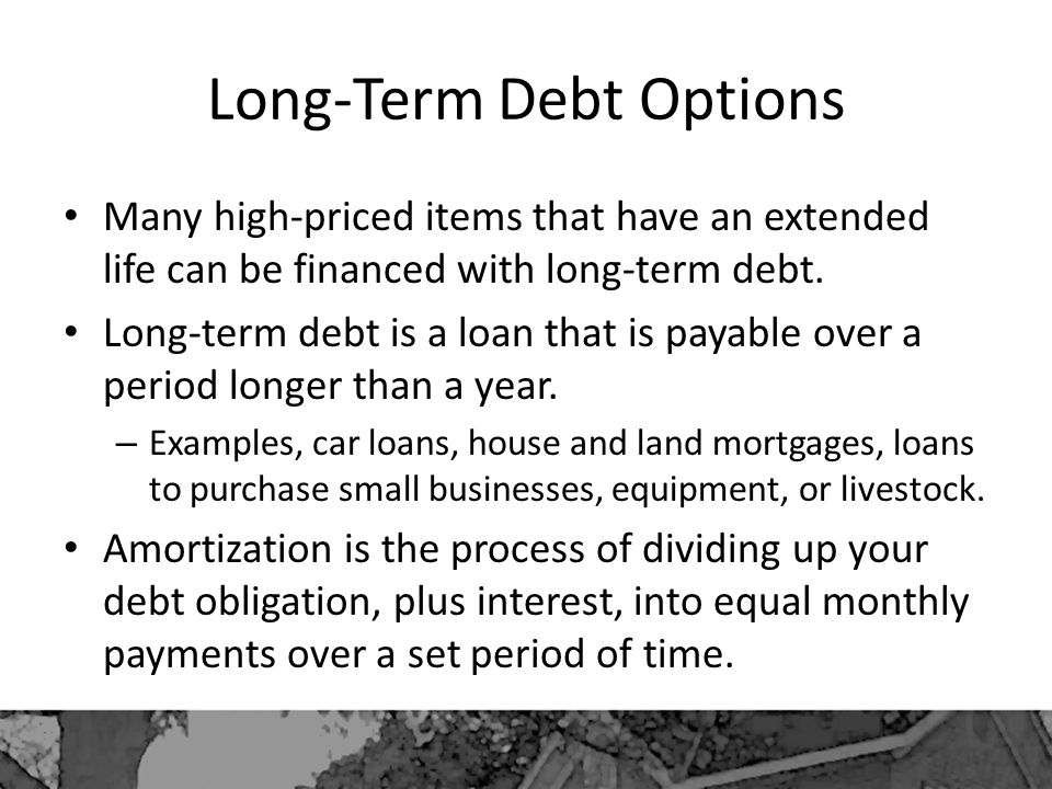 Long-Term Debt Options Many high-priced items that have an extended life can be financed with long-term debt.