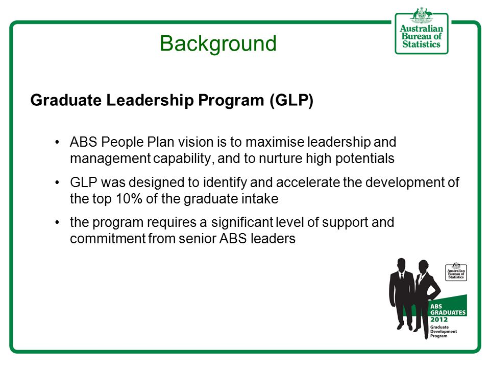 Background Graduate Leadership Program (GLP) ABS People Plan vision is to maximise leadership and management capability, and to nurture high potentials GLP was designed to identify and accelerate the development of the top 10% of the graduate intake the program requires a significant level of support and commitment from senior ABS leaders