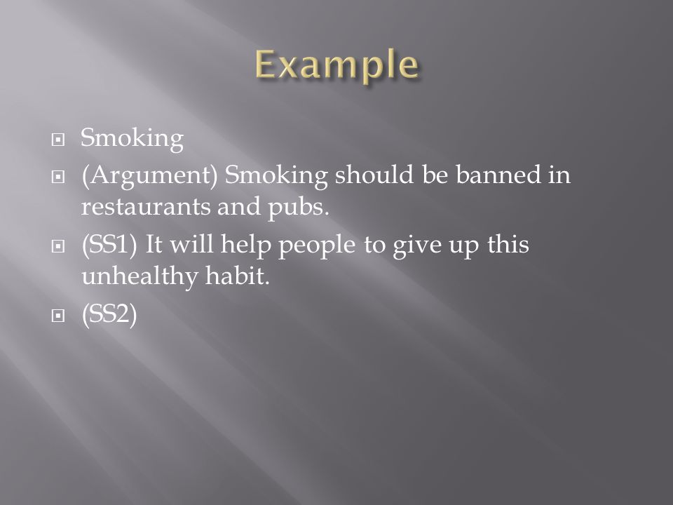 argumentative essay about why smoking should Ban smoking in public places essay: smoking not only harms the smoker, but also those who are nearby therefore, smoking should be banned in public places.