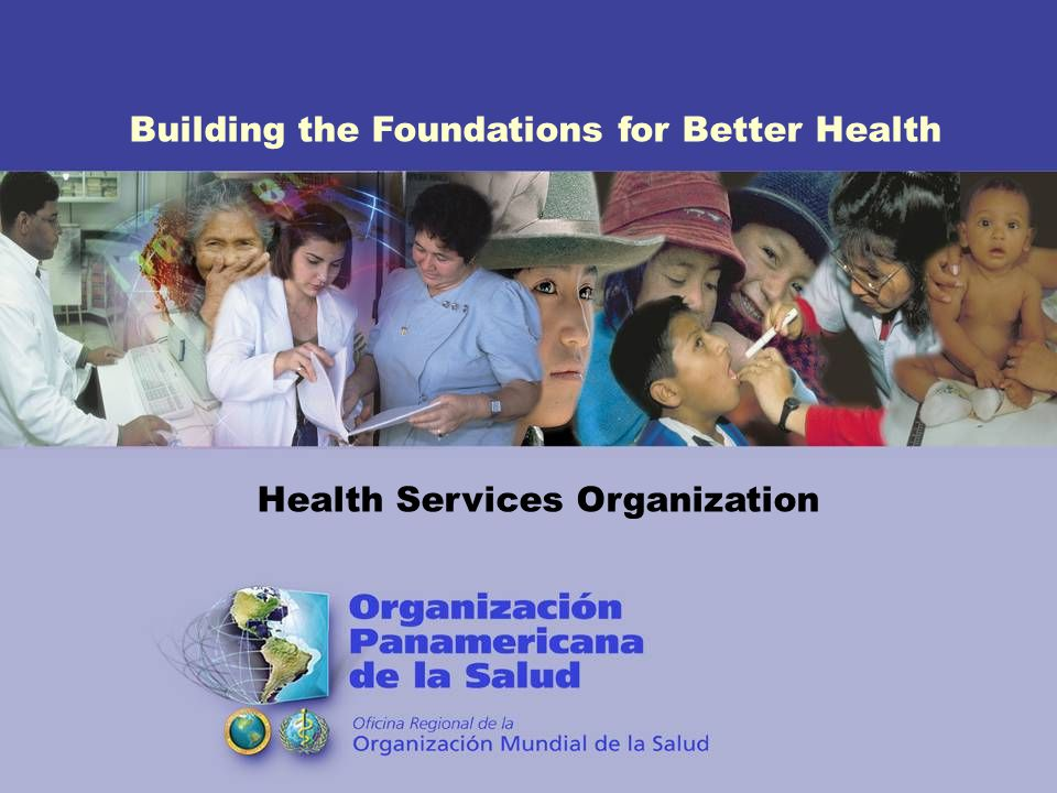 Building the Foundations for Better Health Health Services Organization