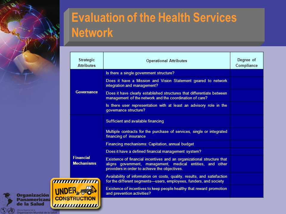 Evaluation of the Health Services Network Strategic Attributes Operational Attributes Degree of Compliance Governance Is there a single government structure.