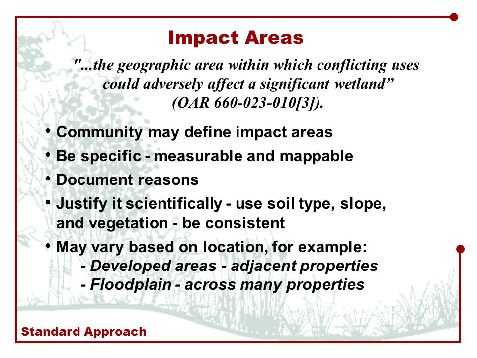 Impact Areas ...the geographic area within which conflicting uses could adversely affect a significant wetland (OAR [3]).